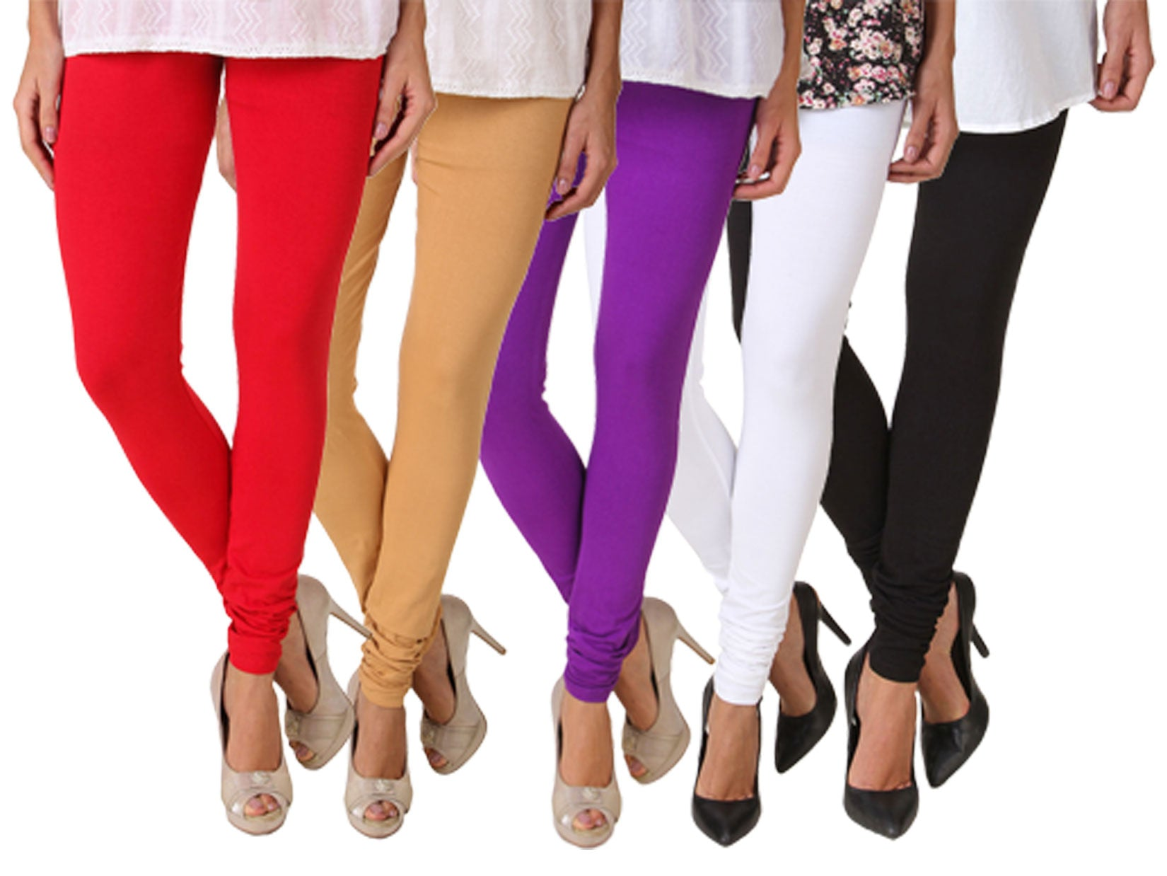 Fasense Solid Cotton Combo Set of 5 Leggings - fasensestore