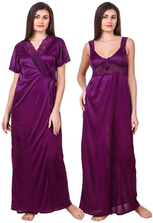 Fasense Satin 2 Pc Set of Nighty & Wrap Gown OM007 - fasensestore