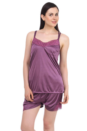 Fasense Exclusive Solid Satin Top & Shorts Set DP041 - fasensestore