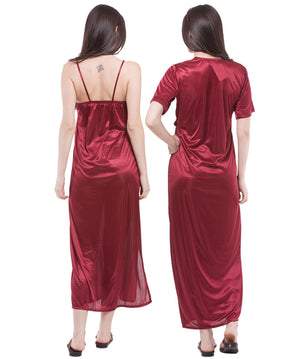 Fasense Satin 2 Pc Set of Nighty & Wrap Gown DP111 - fasensestore