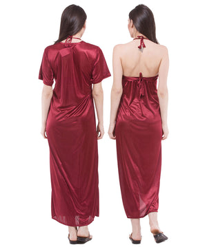 Fasense Satin 2 Pc Set of Nighty & Wrap Gown DP112 - fasensestore