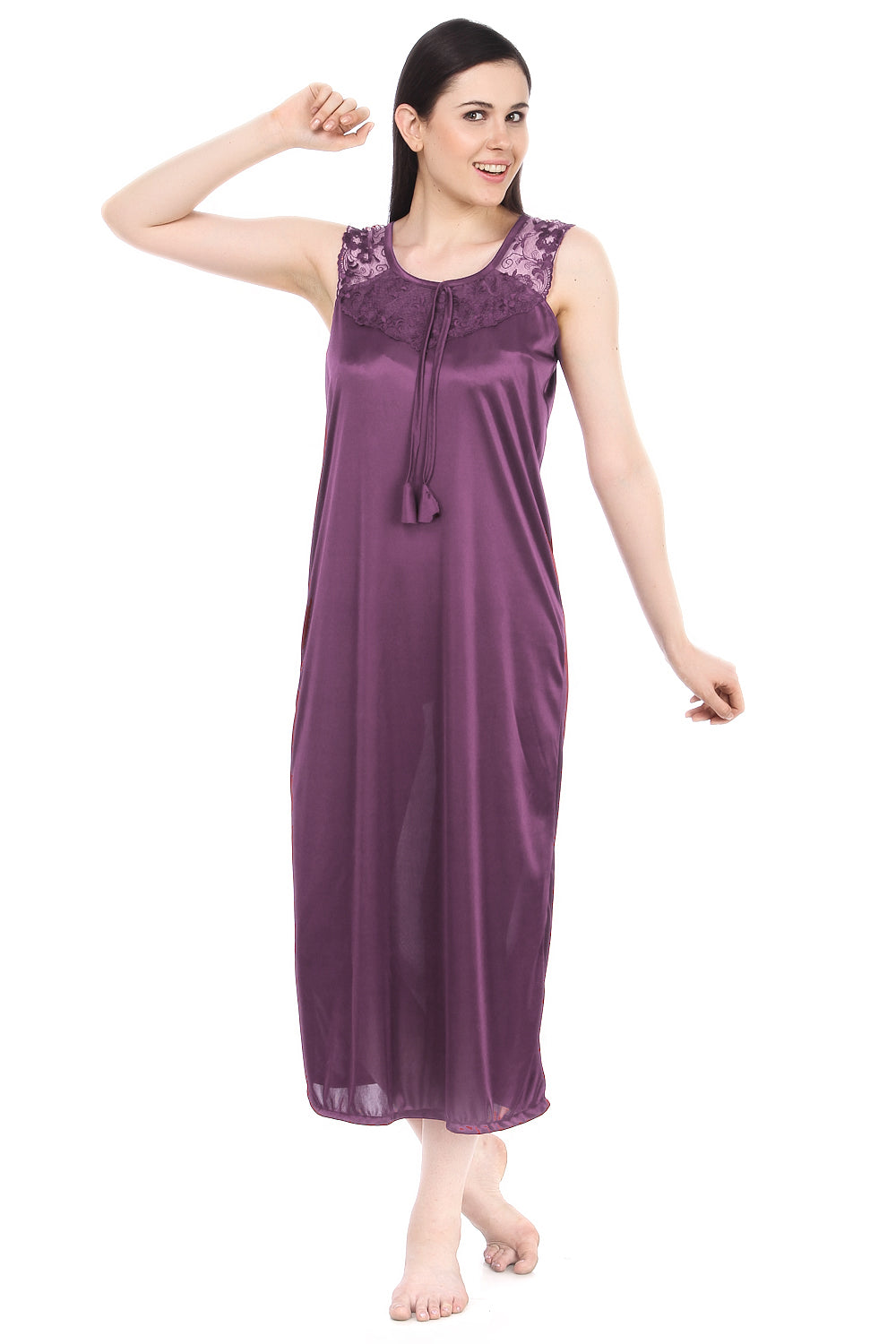 Fasense Solid Satin Long Nighty DP110 - fasensestore