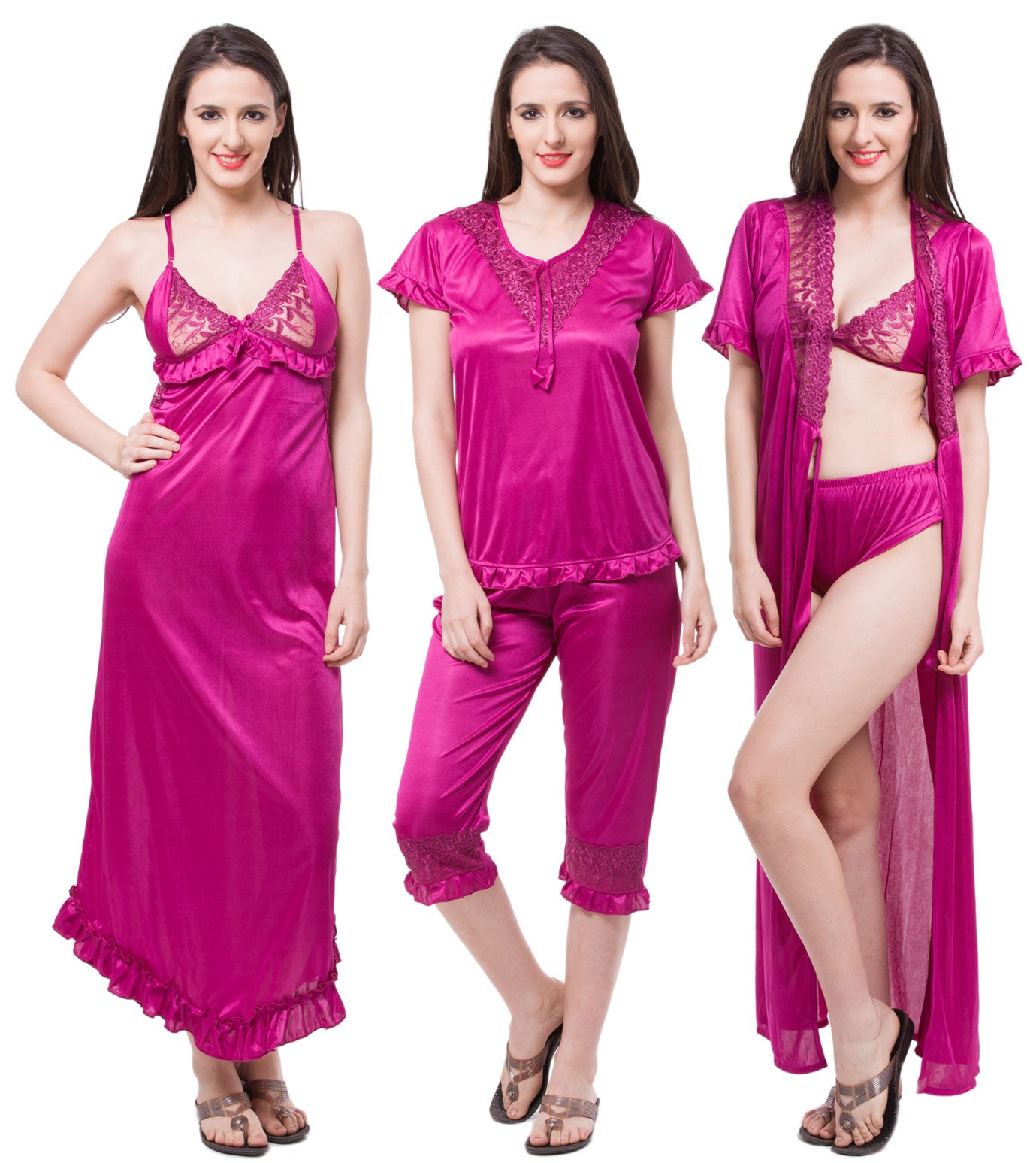 Fasense Satin 6 PCs Set Of Nighty, Wrap Gown, Top, Capry, Bra & Panty DP116 - fasensestore