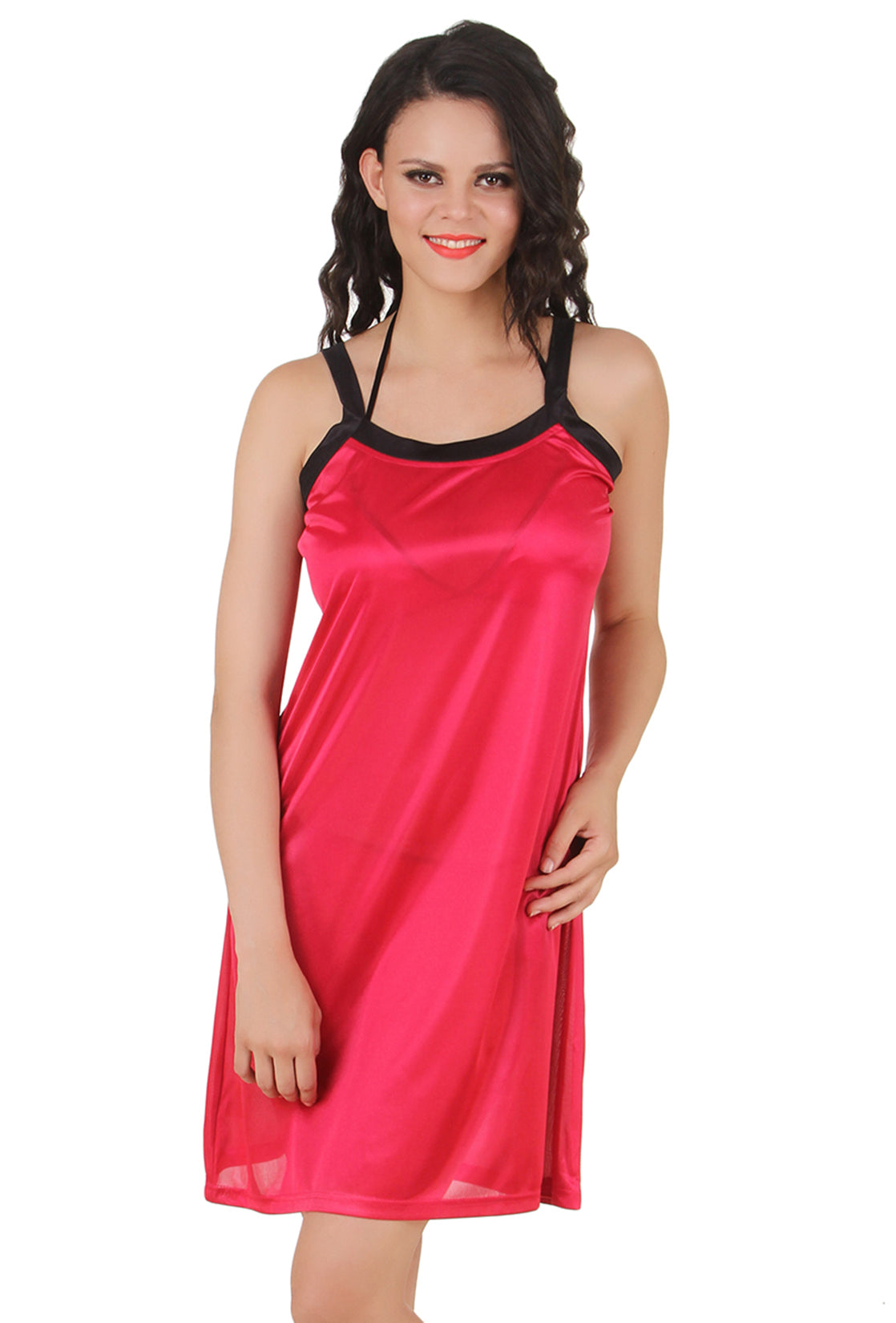 Fasense Solid  Satin Nightwear Short Nighty DP146 - fasensestore