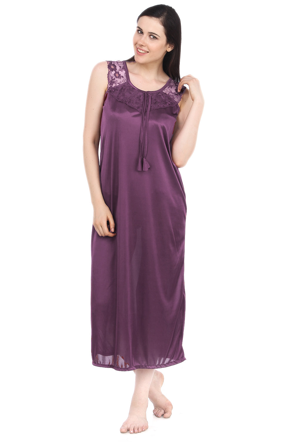 Fasense Satin Solid  Long Nighty  DP110 A