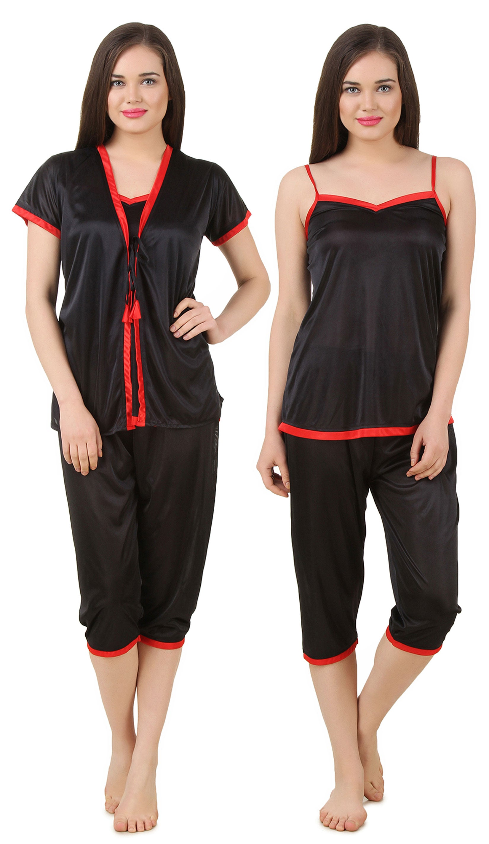 Fasense Satin Nightwear 3 Pc Set of Short Wrap Gown, Top & Capry DP176 - fasensestore