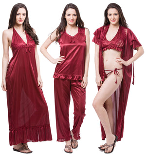 Fasense Satin 6 PCs Set Of Nighty, Wrap Gown, Top, Pyjama, Bra & Thong, DP114 - fasensestore