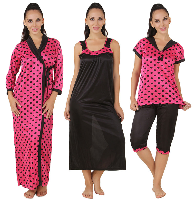 Fasense Satin 4 Pc  Set of Long Nighty, Wrap Gown, Top & Capry, DP156 - fasensestore