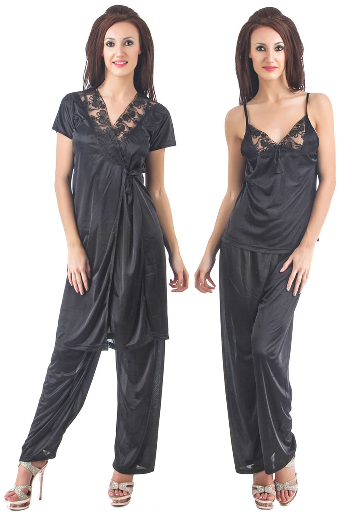 Fasense satin nightwear 3pc top and pajama with robe night suit for women DP090 - fasensestore