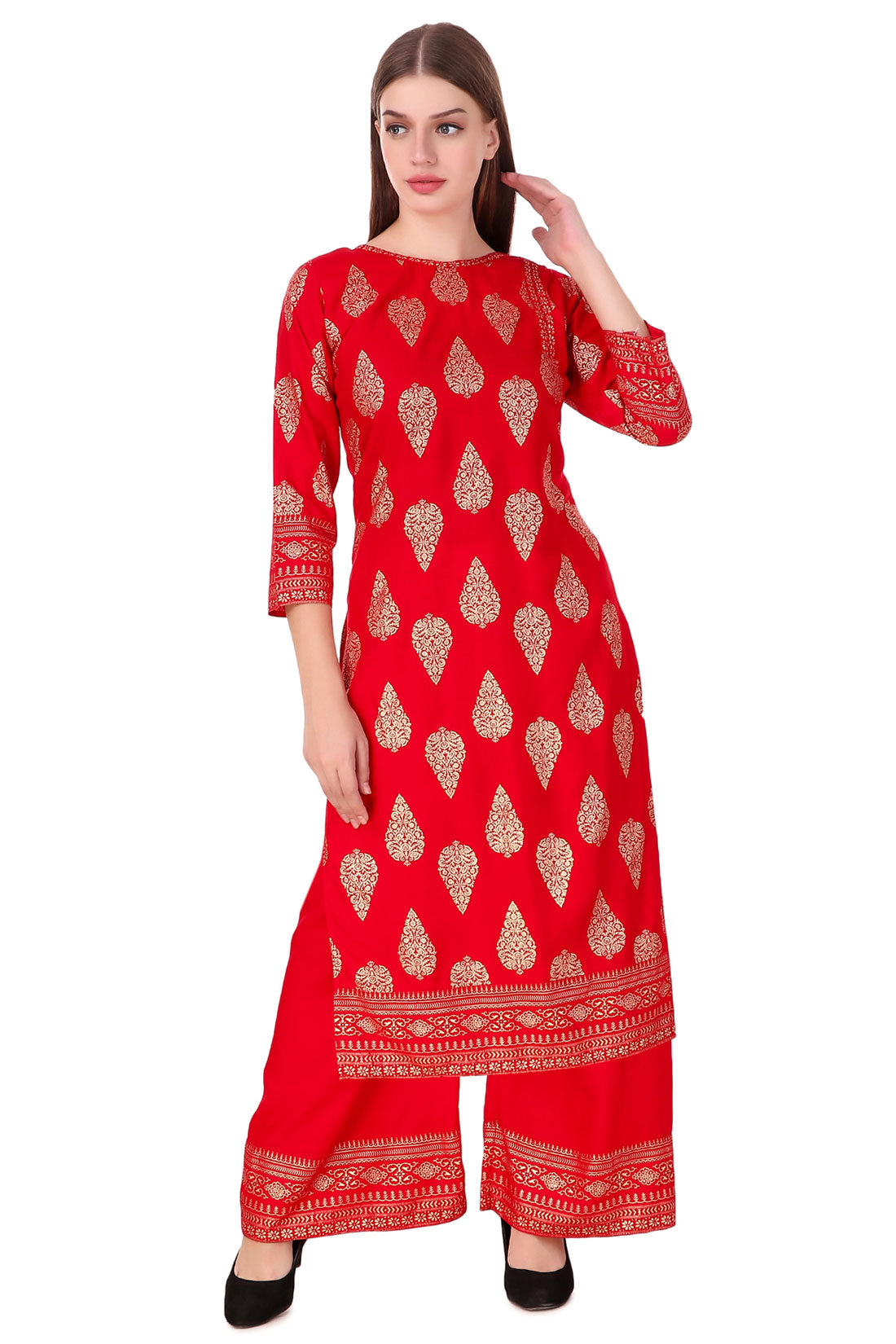 Fasense Women Red Block Printed Kurta with Plazzo Set, VG109