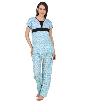 Fasense Printed  Cotton  Nightsuit Top & Pyjama Set DP162 - fasensestore