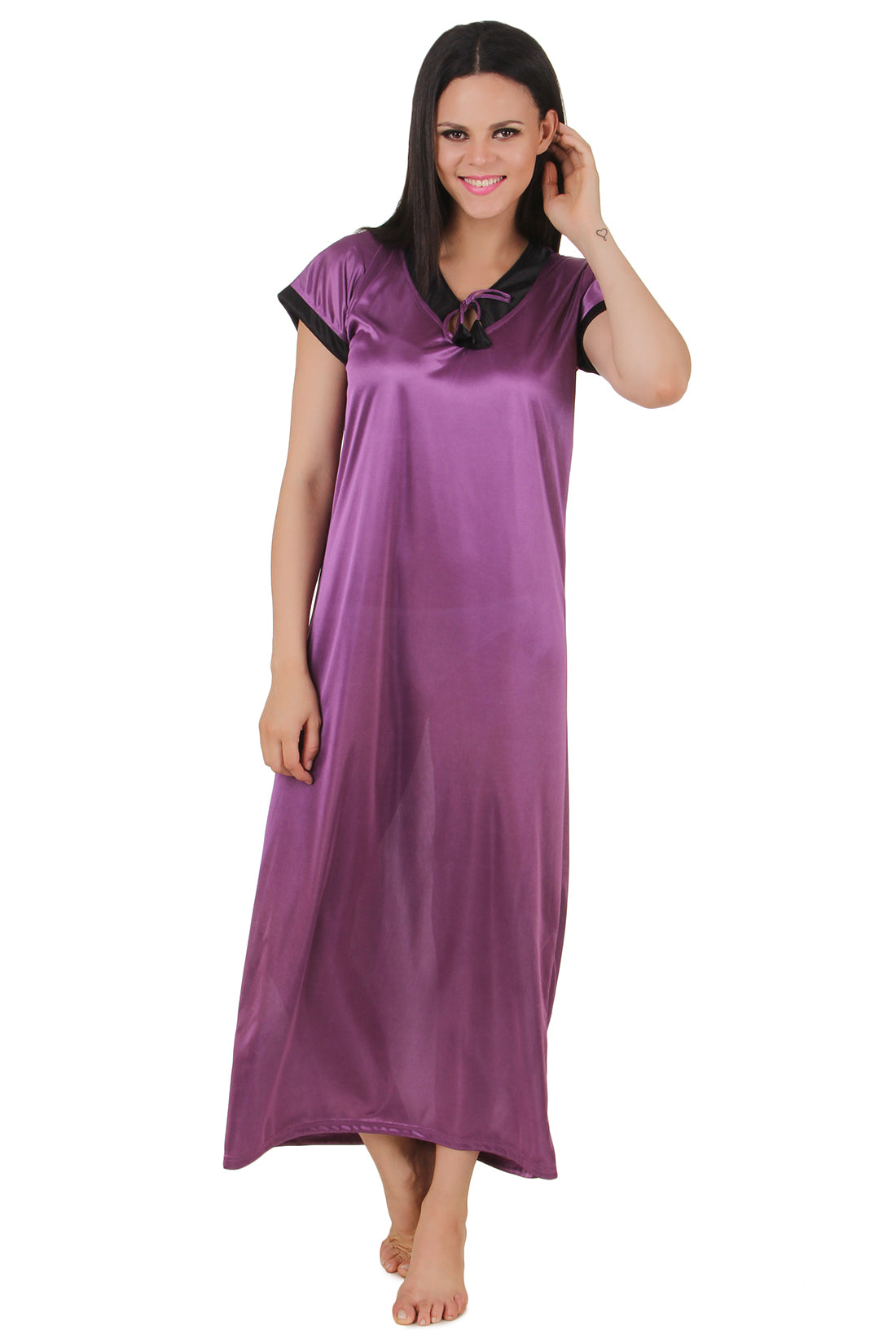 Fasense Satin Solid  Long Nighty  DP141 A