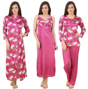Fasense Satin 4 Pc  Set of Long Nighty, Wrap Gown, Top & Pyjama, DP168 - fasensestore