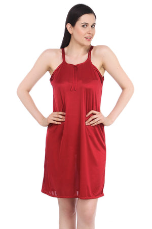 Fasense Satin Sexy Maroon Nightwear Sleepwear Short Nighty for Women DP055 - fasensestore
