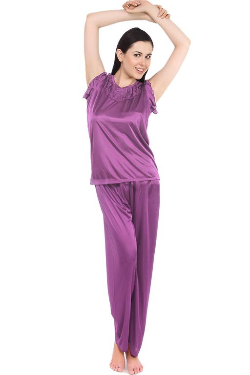 Fasense  Solid Satin Nightwear  Top & Pyjama Set DP093 - fasensestore