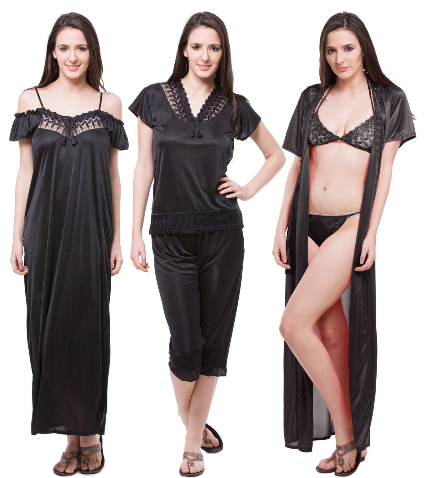 Fasense  Satin 6 PCs Set Of Nighty, Wrap Gown, Top, Capry, Bra & Thong, DP115 - fasensestore