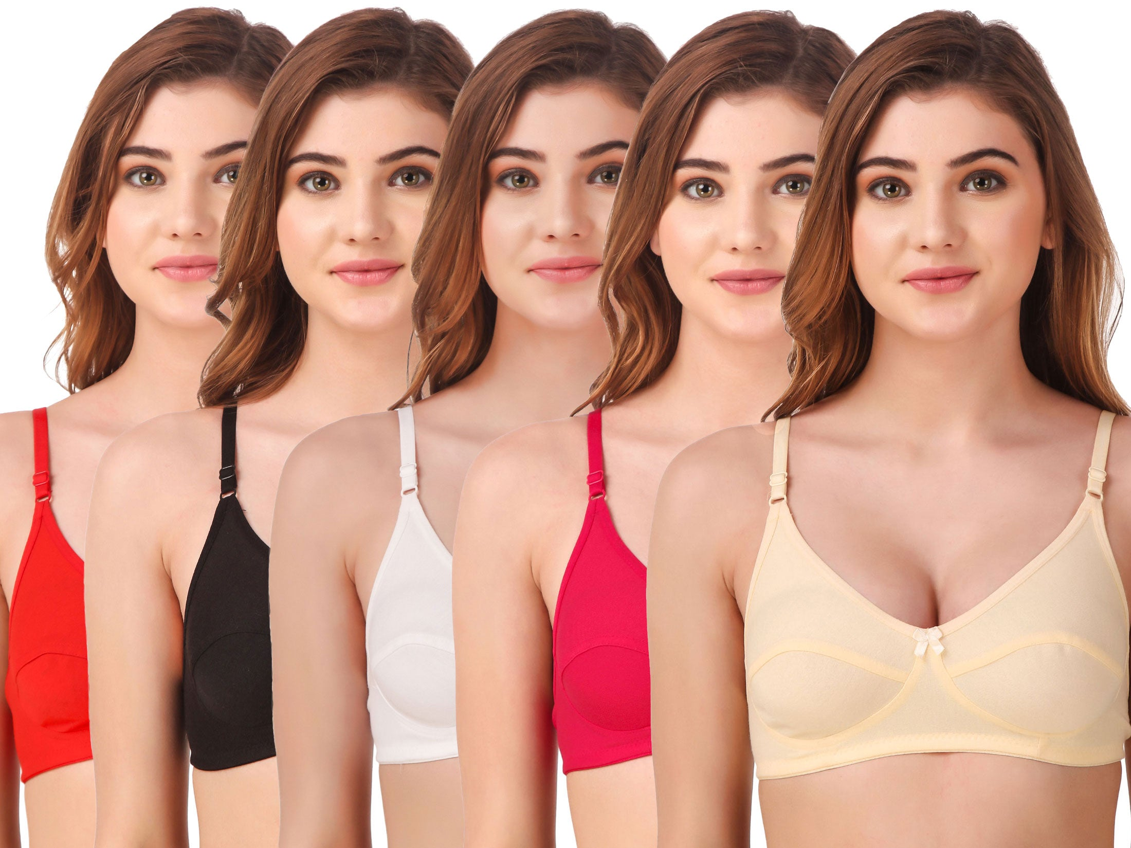Fasense Women's Cotton Solid Non Padded Bra (Pack of 5 ) BVCOM009