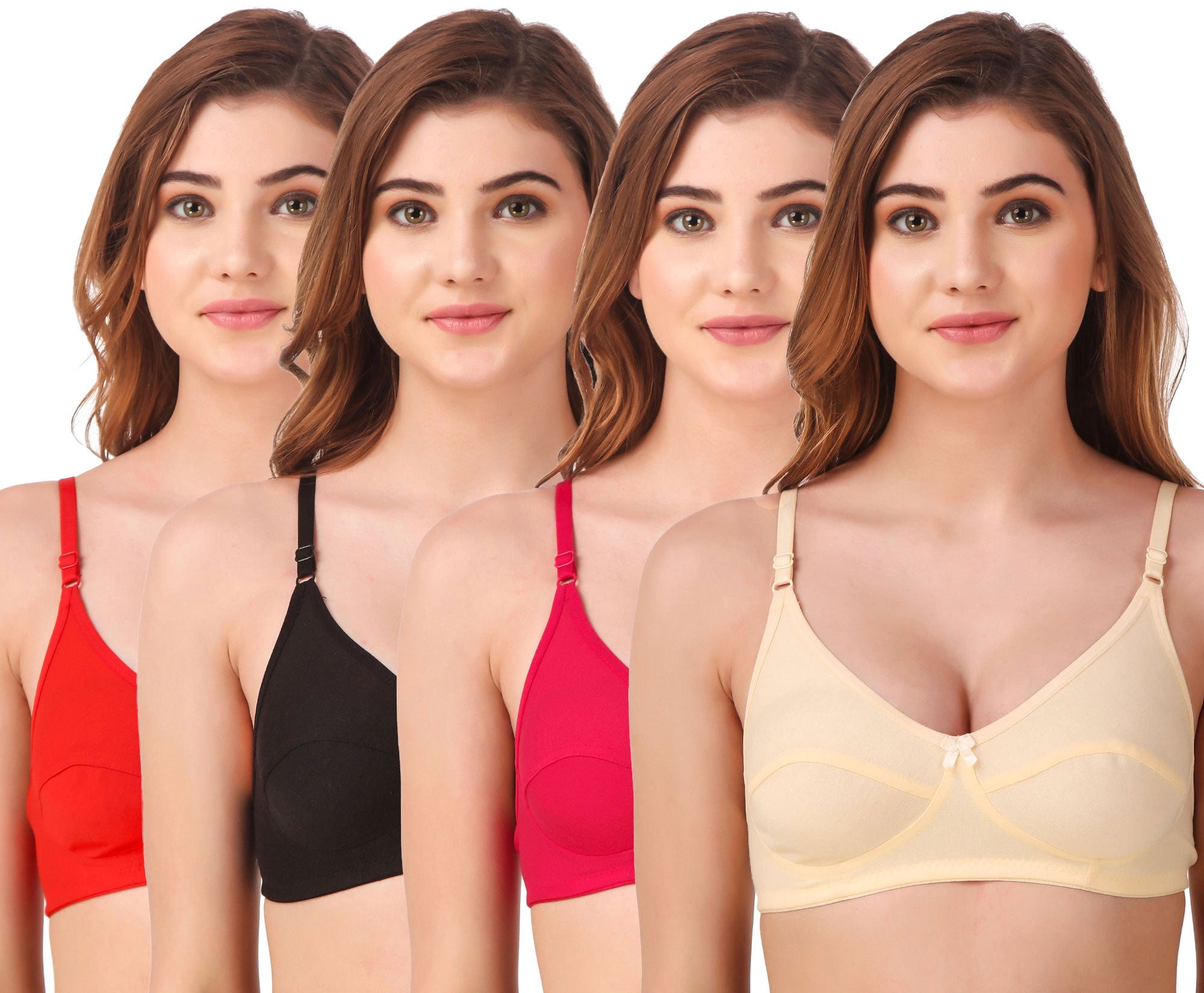 Fasense Women's Cotton Solid Non Padded Bra (Pack of 4 ) BVCOM011