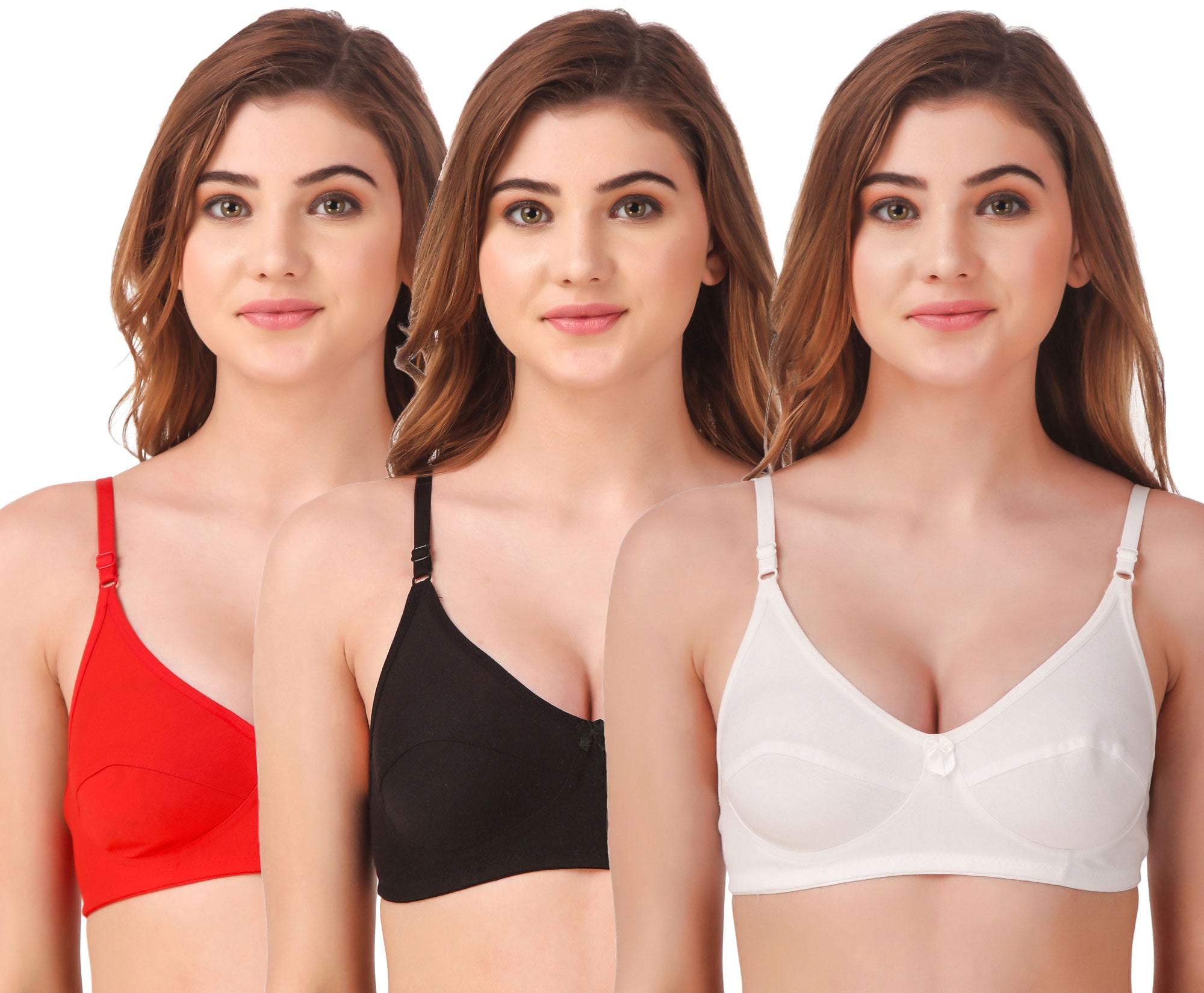 Fasense Women's Cotton Solid Non Padded Bra (Pack of 3 ) BVCOM012