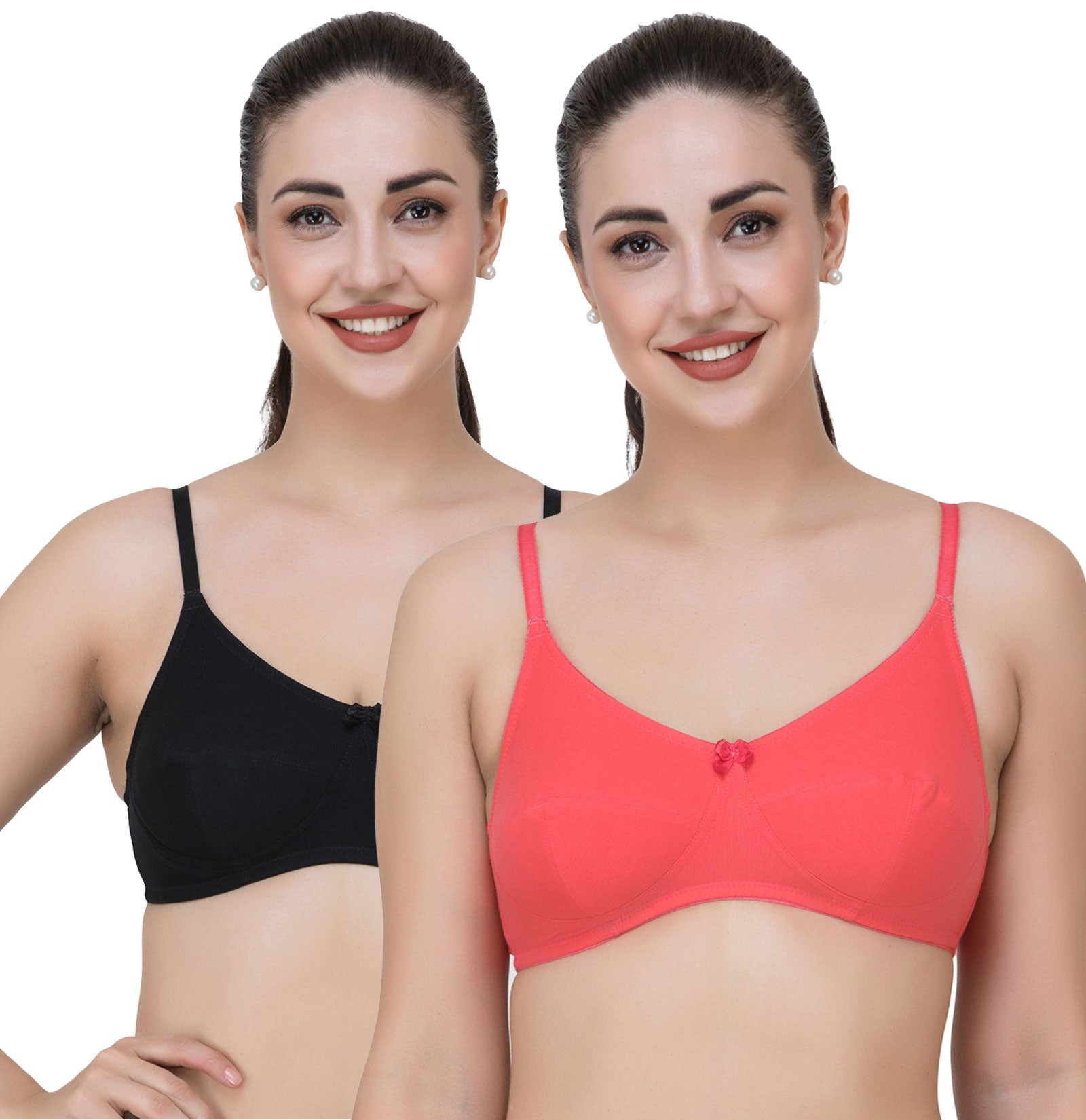 Fasense Women's Cotton Solid Non Padded Bra (Pack of 2 ) BVCOM033