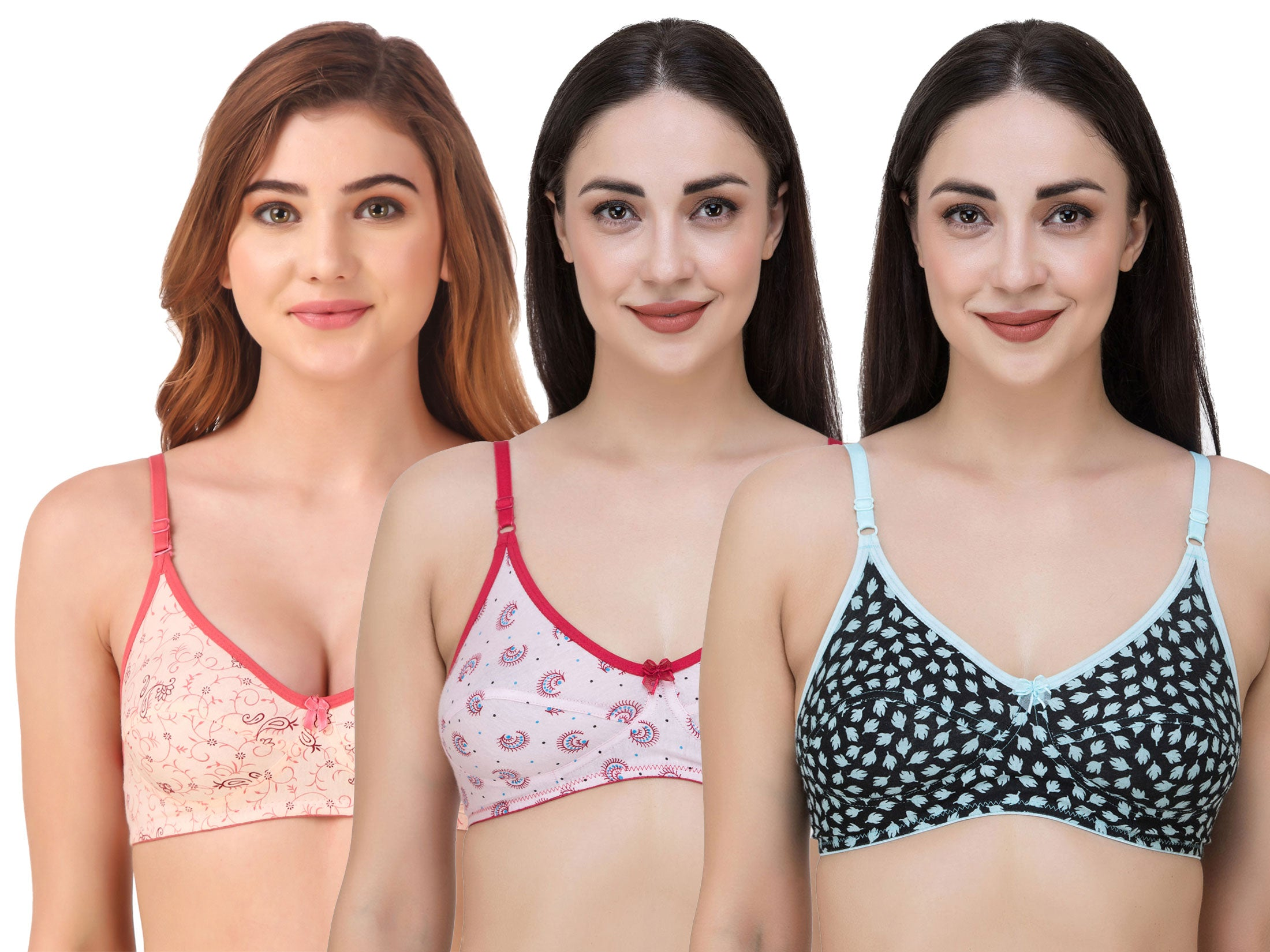 Fasense Women's Cotton Printed Non Padded Bra (Pack of 3 ) BVCOM038