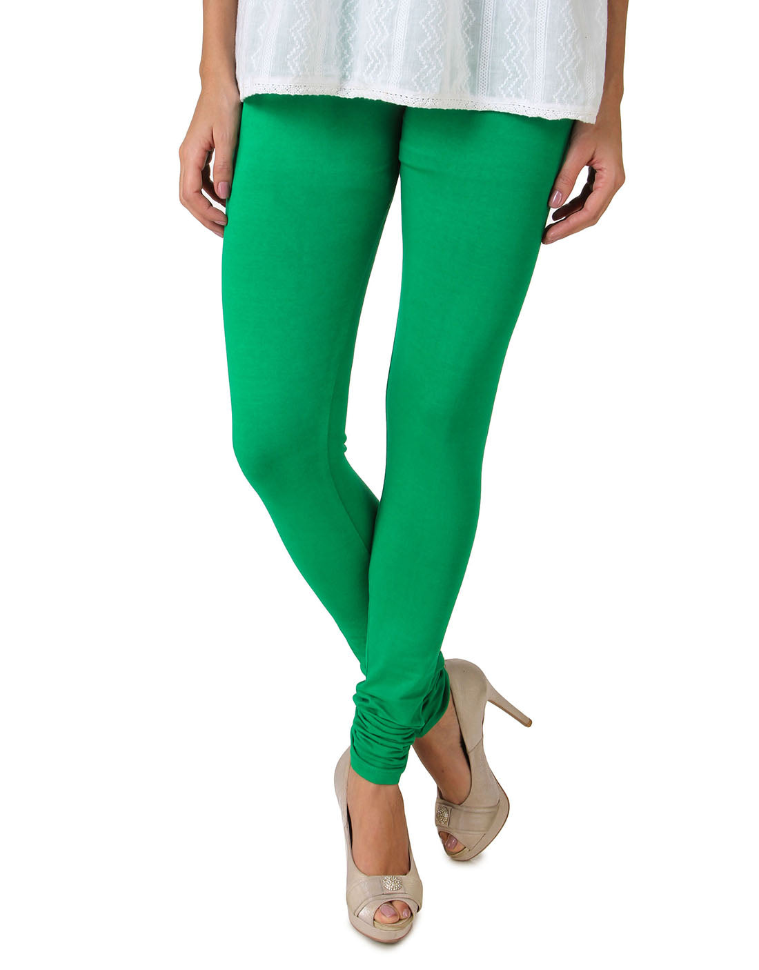 Fasense Solid Green Cotton Leggings