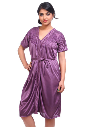Fasense Satin 2 Pc Set of Nighty & Wrap Gown DP034 - fasensestore