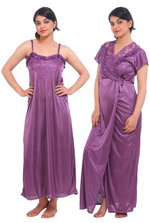 Fasense Satin 2 Pc Set of Nighty & Wrap Gown DP035 - fasensestore