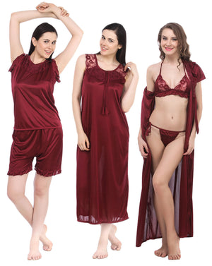 Fasense women satin 6 Pcs nightwear nightdress bridal set for honeymoon  DP044 f1453af6c