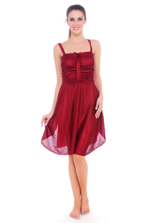 Fasense maroon nightwear sleepwear sleeveless short nighty for women DP057 - fasensestore