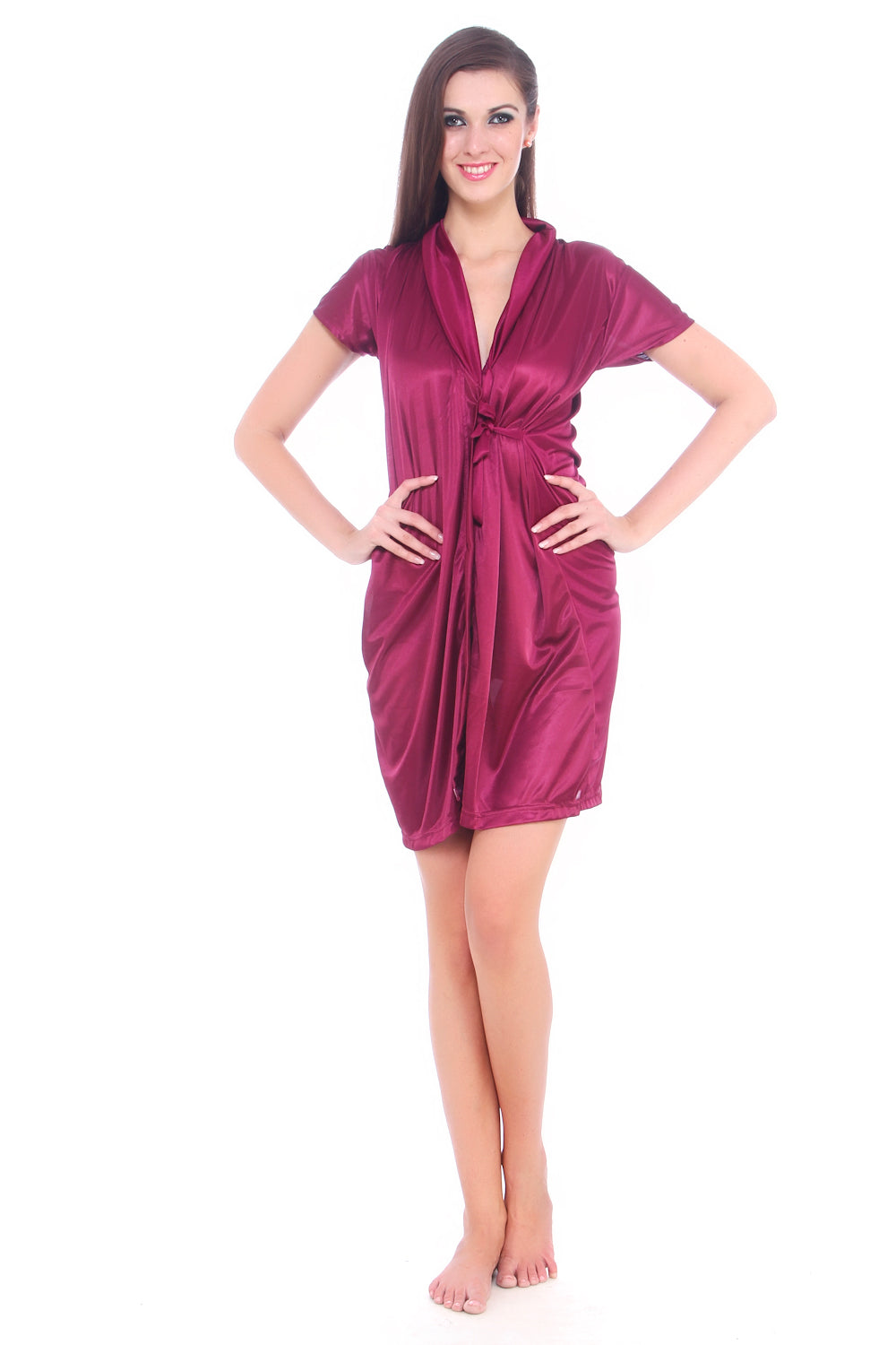 Fasense Exclusive Women Satin Wine Color Wrap Gown DP066 A - fasensestore