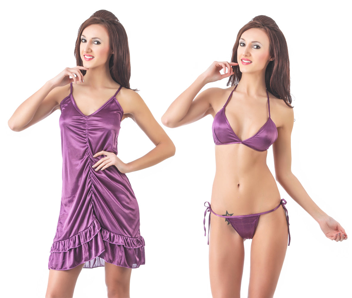Fasense Exclusive Satin Nightwear 3 PCs Set of Nighty, Bra & Thong DP086 A - fasensestore