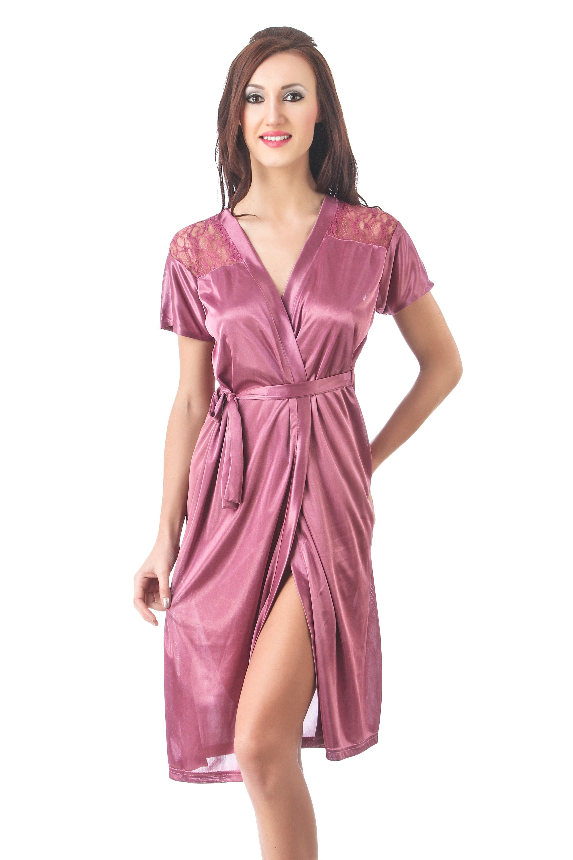Fasense Exclusive Solid Satin Short Wrap Gown DP096 - fasensestore