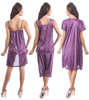 Fasense Satin 6 PCs Set of Nighty, Robe, Top, Capry, Bra & Thong, DP097 - fasensestore