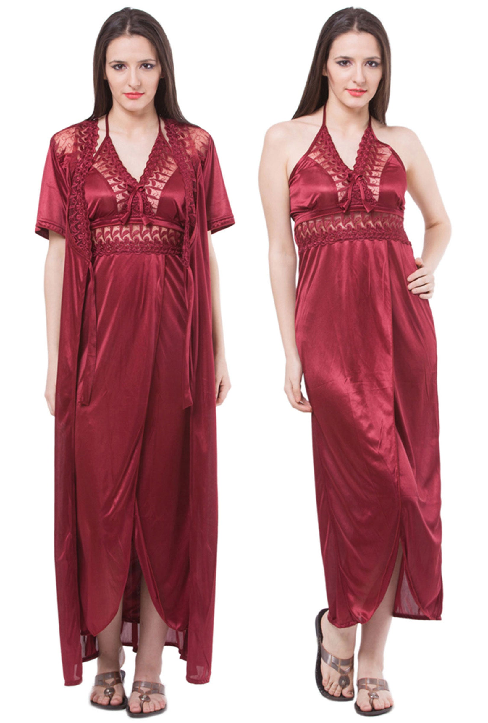 ff7805d29b ... huge selection of e9750 76abf Fasense Satin 2 Pc Set of Nighty Wrap  Gown DP112 A ...