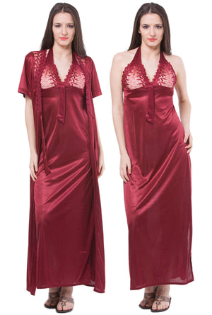 Fasense Satin 2 Pc Set of Nighty & Wrap Gown DP113 - fasensestore
