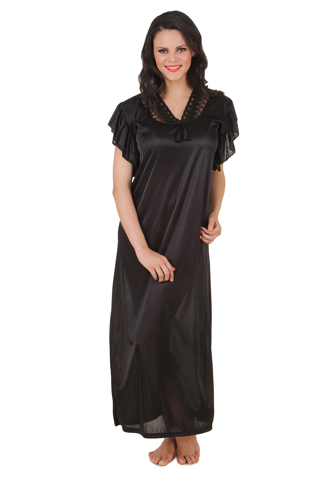 Fasense Solid Satin Long Nighty DP136