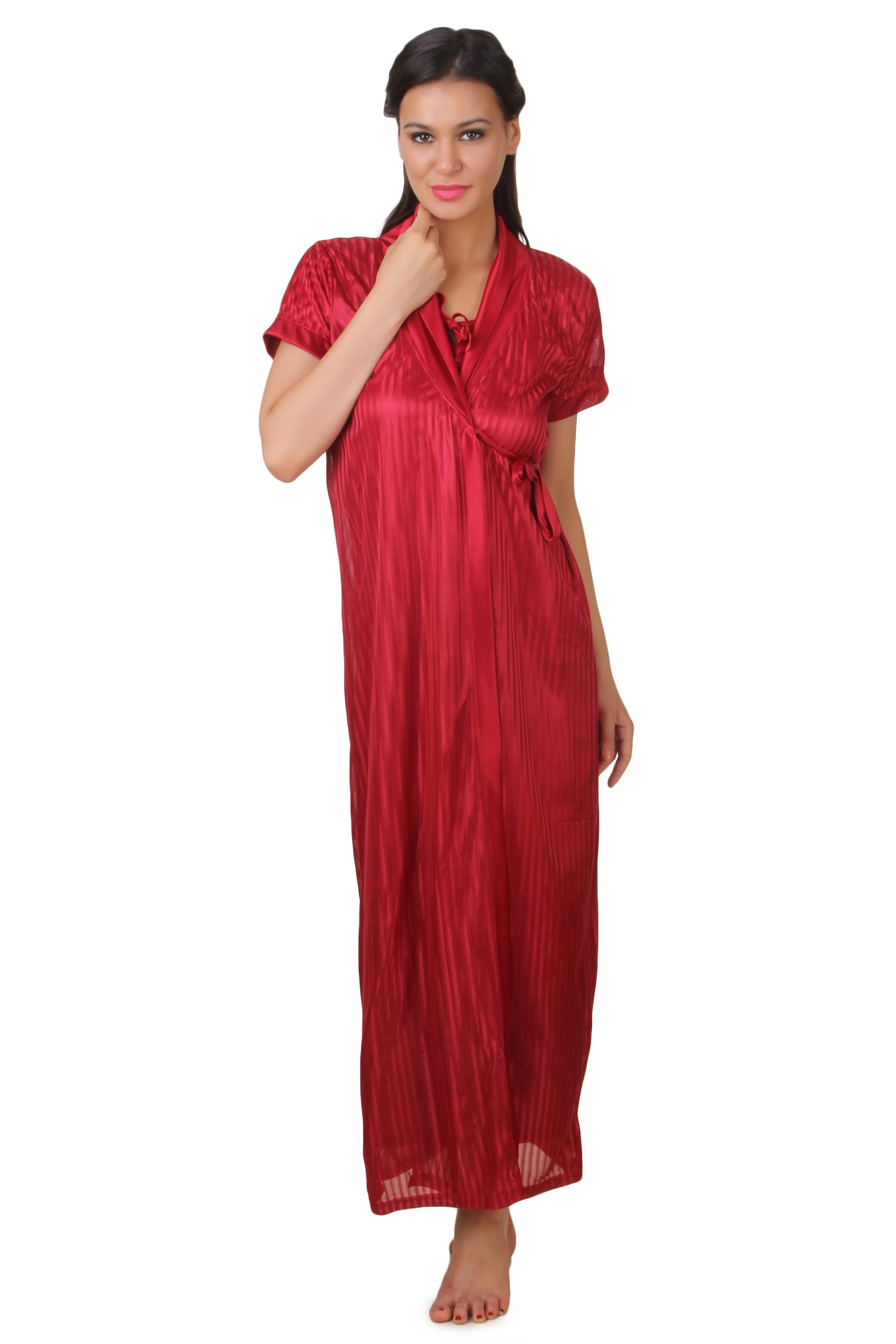 Fasense Solid Satin Long Wrap Gown Nighty DP142