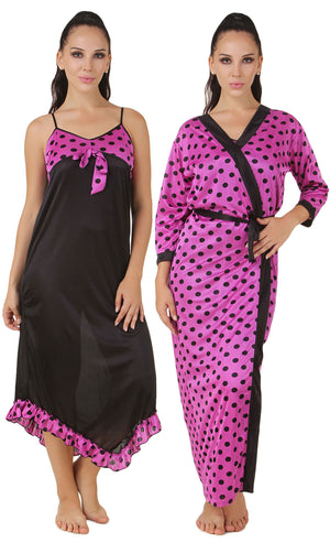 Fasense Satin Nightwear 2 Pc Set of Wrap Gown, Nighty DP155 - fasensestore