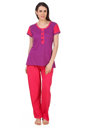 Fasense  Solid Print Cotton  Nightsuit Top & Pyjama Set DP164 - fasensestore