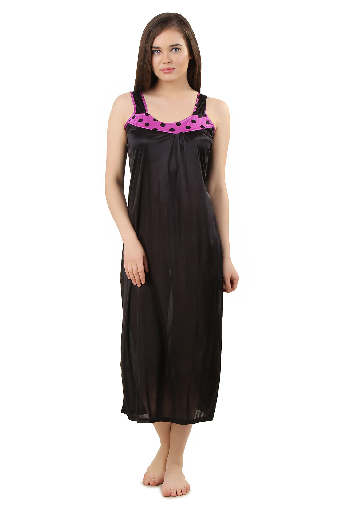 Fasense Solid Satin Long Nighty DP166