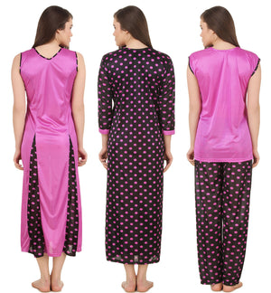 Fsense Satin 6 PCs Set of Nighty, Wrap Gown, Top, Pajama, Bra & Thong, DP171
