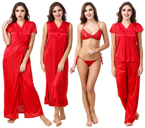 Fasense Satin Pack of 6 Pc Nightwear (Nighty, Wrap Gown, Top, Pajama, Bra & Thong) ED001 - fasensestore