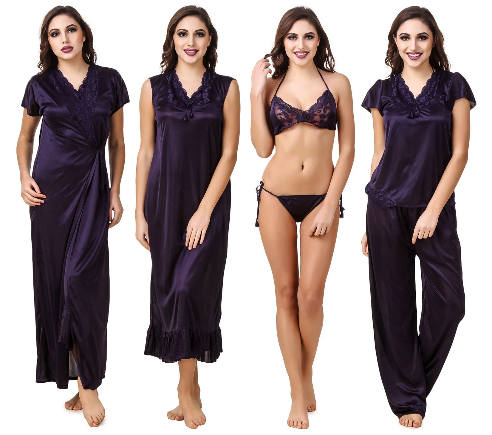 3ab066c85e842 Fasense Satin Pack of 6 Pc Nightwear (Nighty, Wrap Gown, Top, Pajama