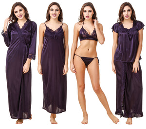 Fasense Satin Pack of 6 Pc Nightwear (Nighty, Wrap Gown, Top, Pajama, Bra & Thong) ED002 - fasensestore