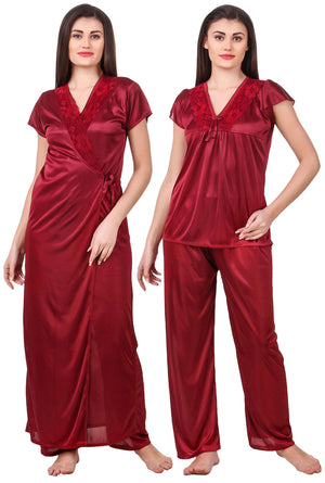 Fasense Women s Solid Maroon Top   Pyjama with Robe Set ED004 e7f1a7dd4