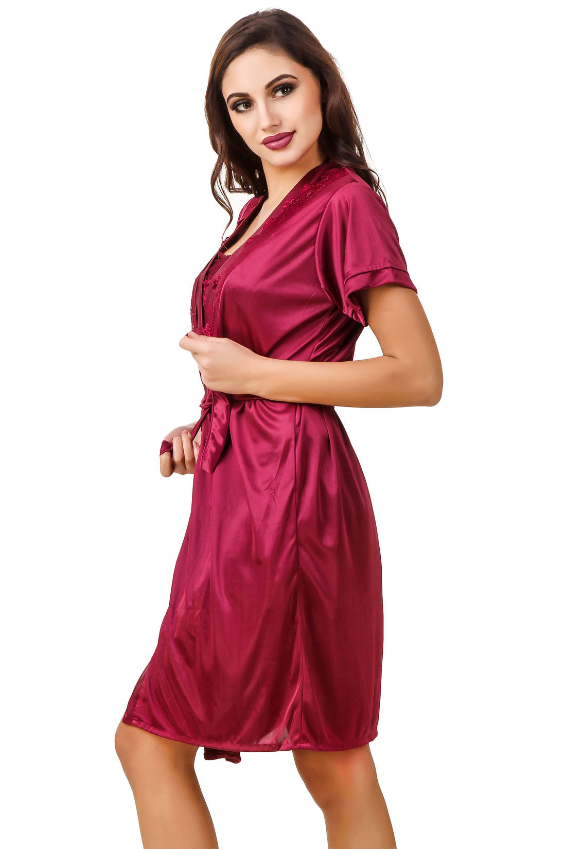 Fasense Satin Solid 2 Pc Set of Nighty   Wrap Gown-By Fasense ab47d770c