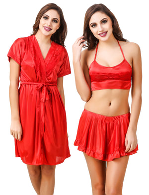 Fasense Satin Nightwear 3 Pc Set of Short Skirt, Bra with Robe ED005 - fasensestore