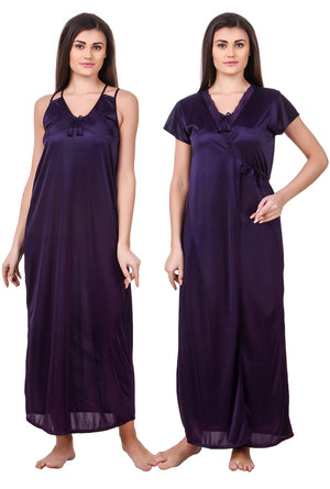 Fasense Satin Nightwear 2 Pc Set of Nighty & Wrap Gown ED008 - fasensestore