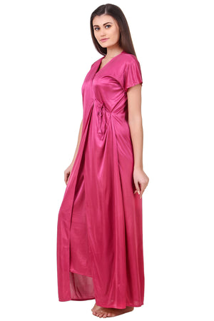 Fasense Satin Nightwear 2 Pc Set of Nighty & Wrap Gown ED009 - fasensestore